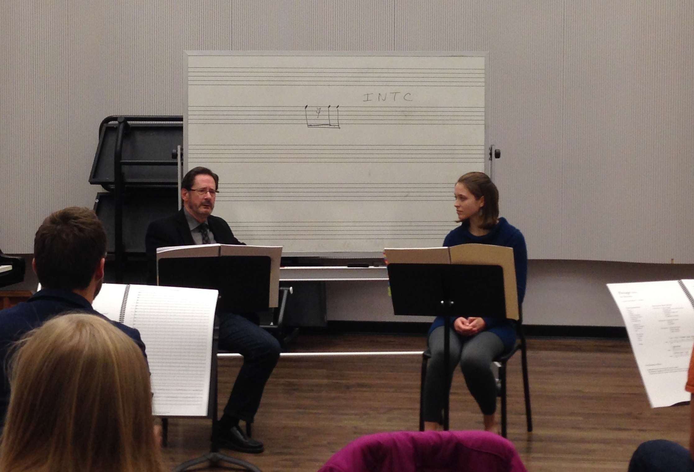 Dempsey in a masterclass with Steven Stucky after the reading of her piece  Passage .