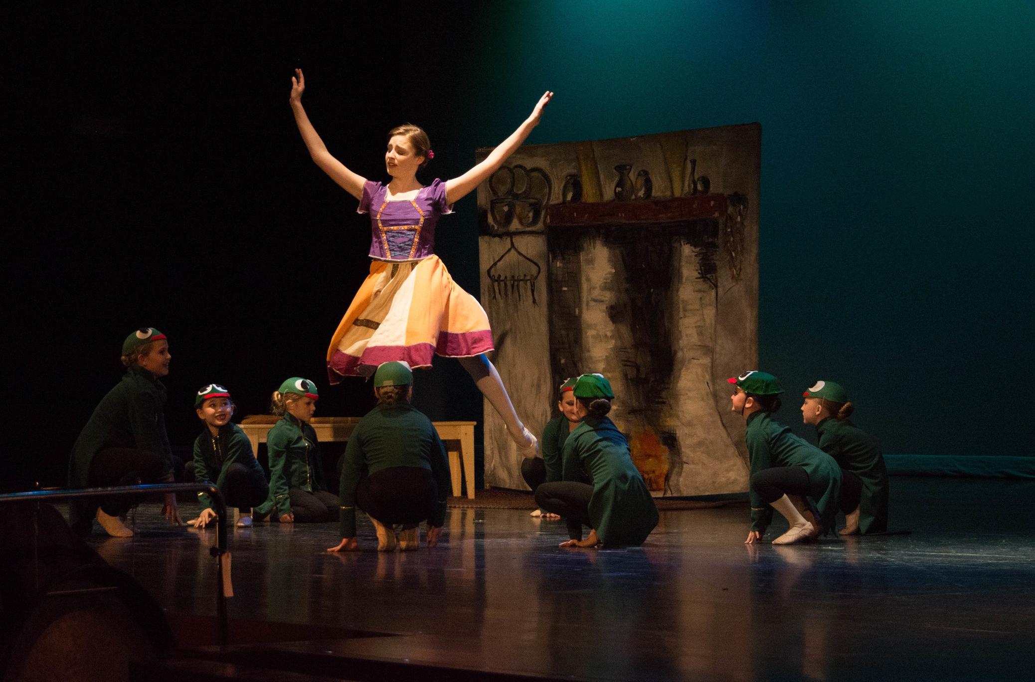 Frogs overwhelm elder daughter Cerise, danced by Rebekah Schmitz.