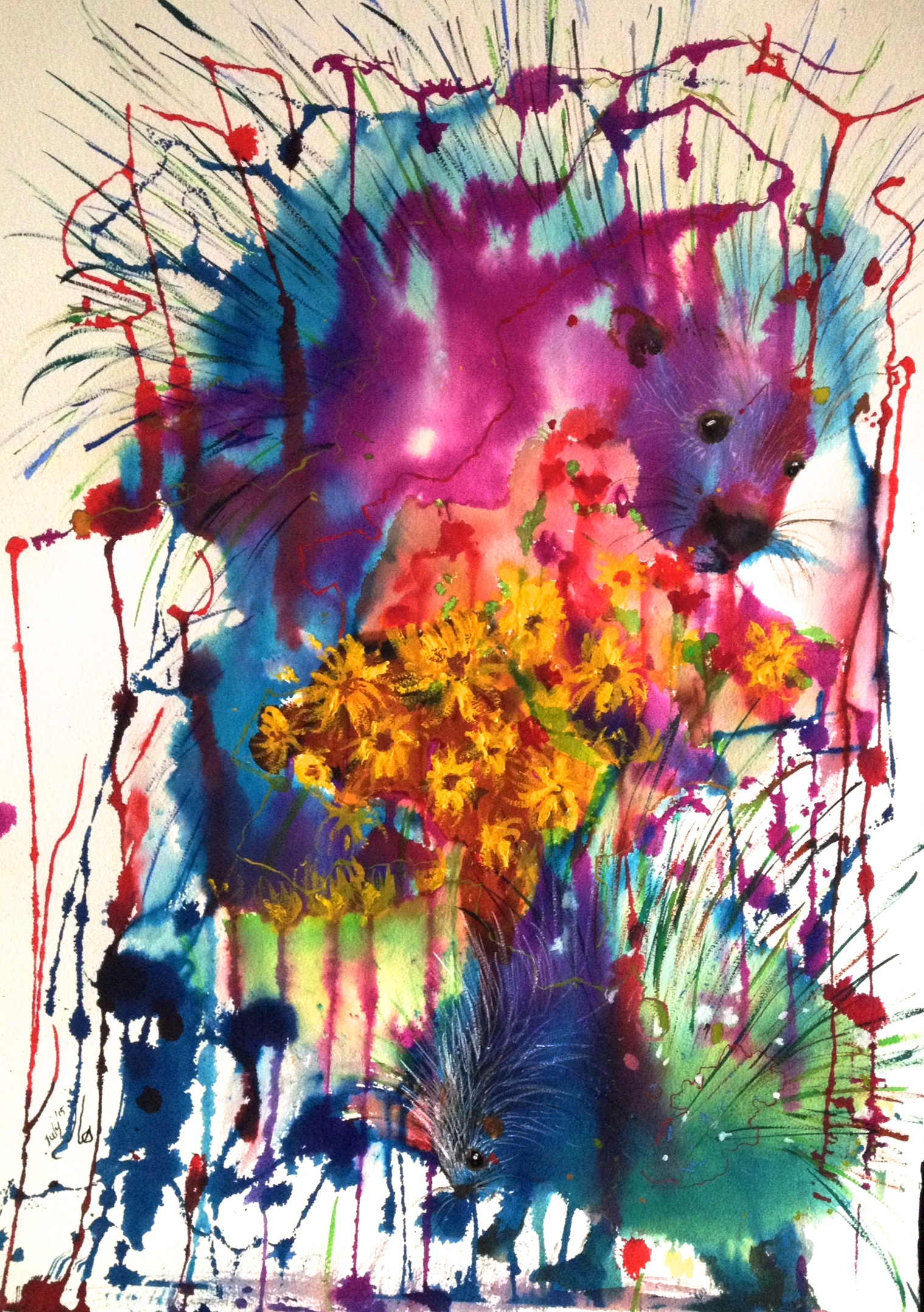 Porcupines and dendelions, 2015 - SOLD