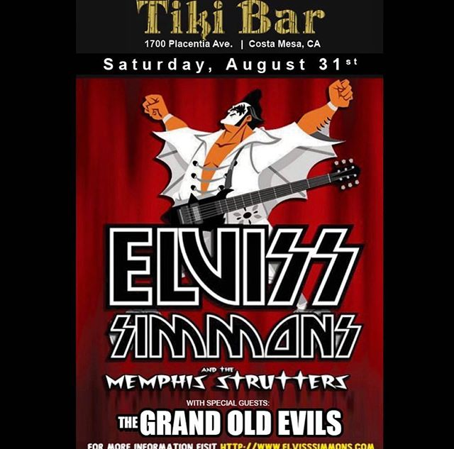 Once again the Evils are set to ROCK!  This time with @elvisssimmons at the @tikibaroc August 31st.  Come out and have a beer and enjoy the show!