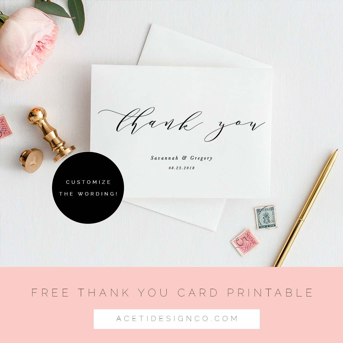 Free editable PDF Thank you Card Printable | Aceti Design Co.