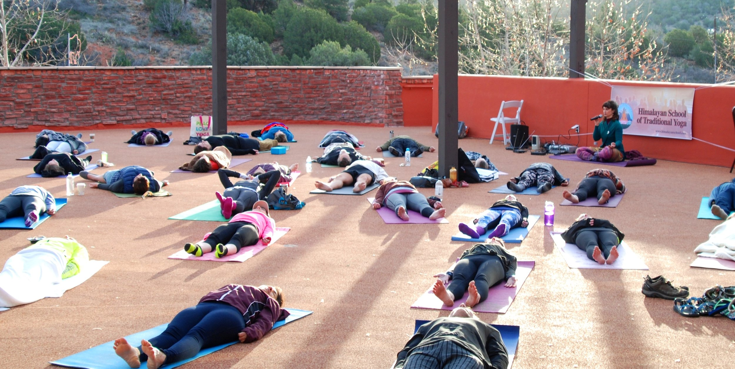 -   Devi conducting Yoga Nidra after Yoga class in Sedona,  USA, at the Sedona Yoga Festival in March 2017