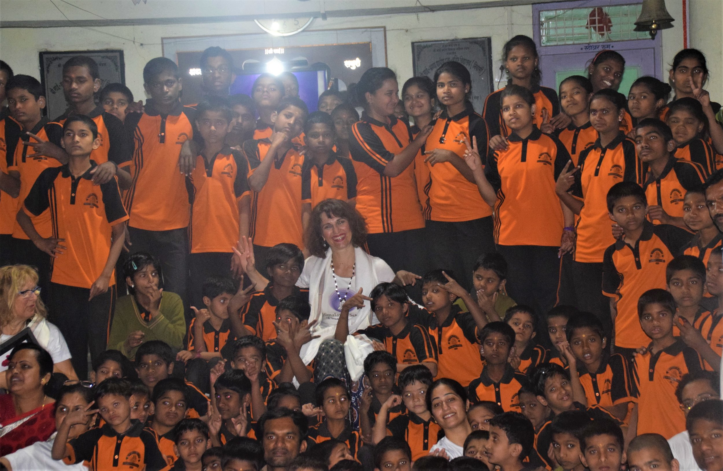 Devi in the sea of children.jpg