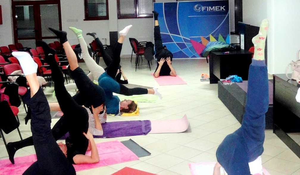 Eka Pada Sarvangasana, Yoga during Devi Mohan's seminar at the private University FIMEK in Novi Sad, Serbia, 2015.jpg