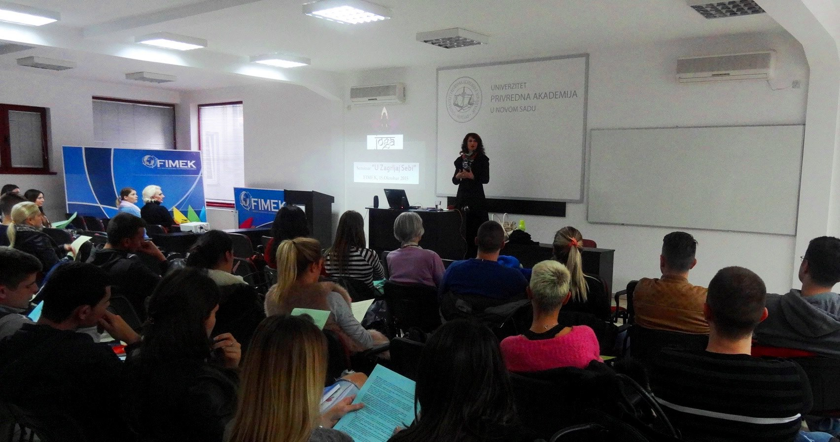Devi Mohan's intro talk before conducting the Yoga and Pranayama seminar at FIMEK, private University in Novi Sad, Serbia, 2015.jpg