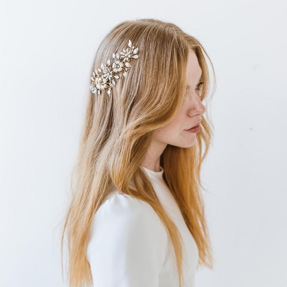 Gold Floral Comb by Melinda Rose