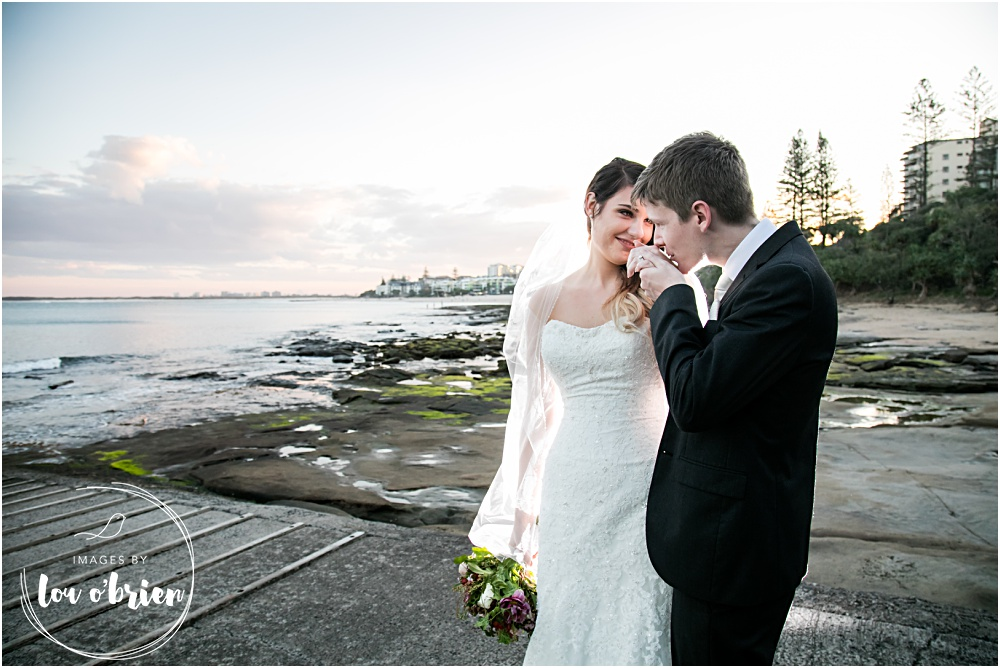 Renee and Ben's Caloundra wedding. wedding ceremony at Sir Leslie Wilson Park, Dicky Beach. Reception at Shearwater Resort, The Vue Room. Sunshine Coast Wedding Photography by images by Lou O'Brien. Wedding Celebrant Shona Andersen.