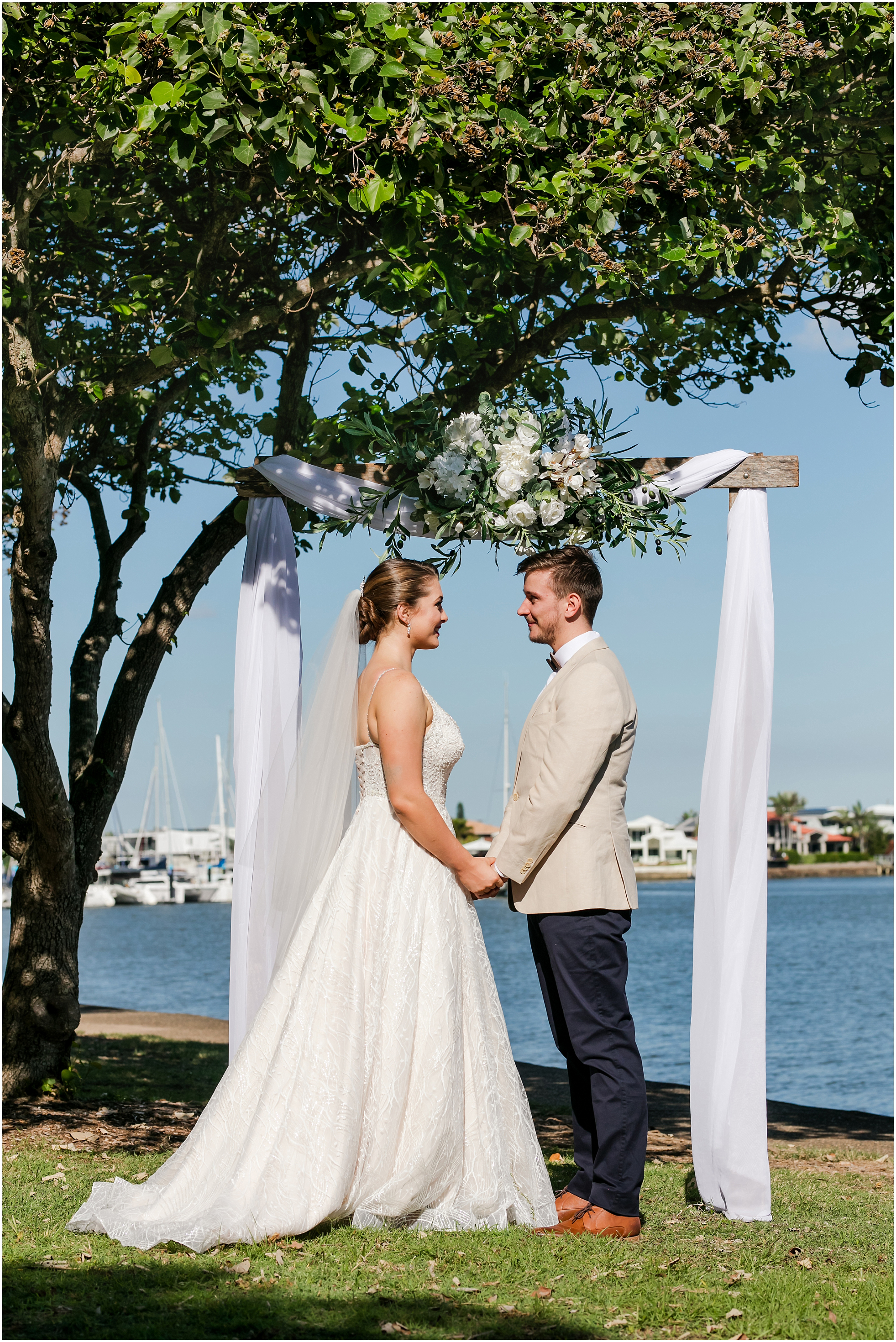 #LoveMooloolaba styled wedding photo shoot.  Mooloolaba weddings photo shoot. Bridal Gown, Judy Copley Couture. Exquisite Gowns by Yvonne. Groom's suit, Suits Direct. Wedding styling, Cloud Nine Weddings and Events. Make up and Hair by Blonde & Blond Beauty. marriage celebrant Suzanne Riley. Wedding photography by   Sunshine Coast wedding photographer, images by Lou O'Brien www.imagesbylouobrien.com     #lovemooloolaba #staymooloolaba #suzannecelebrant Bridal gown – Exquisite Gowns @yvonne.steven Bridal Gown - Judy Copley Couture @judycopleycoutureBridal veil – A Vieled Affair  @aveiledaffair Wedding decorator and stylist – Cloud Nine Weddings and Events @cloudnineweddings Groom's Suit by Suits Direct @suitsdirect Hair and Makeup by Justina Simone MUA/STYLIST @makeup @justina_simone Accommodation  at First Light Mooloolaba, @firstlightmooloolaba Earrings @thinkpinq1 Pineapple pj's @malleebaystudio at Mooloolaba Marriage celebrant – Suzanne Riley @suzannecelebrant Wedding Photography - images by Lou O'Brien Wedding Photographer @imagesbylou  Models - @alloya_patterson @saxoncastle @viola.pink