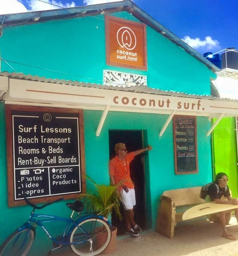 Coconut Surf - shop (2014-2017) - Situated on the main street of San Juan, this surf shop was the the first Coconut Surf project. Offering ;renting, selling all type of surf equipment and offering beach shuttle + surf lessons at the beaches