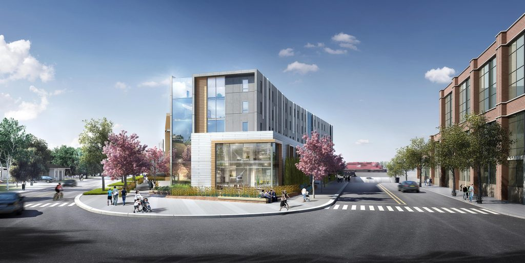 A concept rendering of the under-construction YW Hub Facility (photo credit: Kasian Architects)