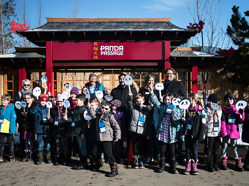 Councillor Gian-Carlo Carra, Ward 9 Councillor, is joined by students from Prince of Wales School to celebrate the Calgary Zoo's announcement of the opening of the Panda Passage on May 7, 2018. April 9, 2018 (PHOTO CREDIT: Kerianne Sproule/PostMedia)