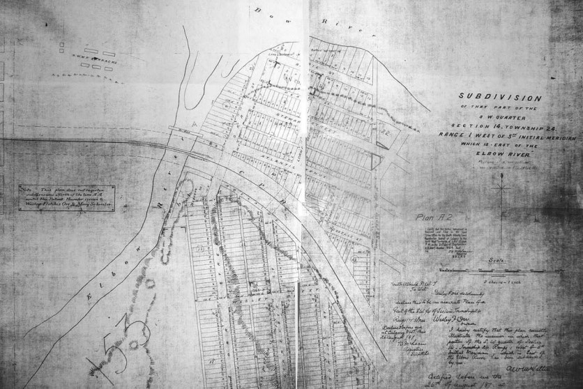 Official subdivision plan for Inglewood west of 11th Street SE and the north end of Ramsay c.1890. - Historic Image from the Glenbow Archives.