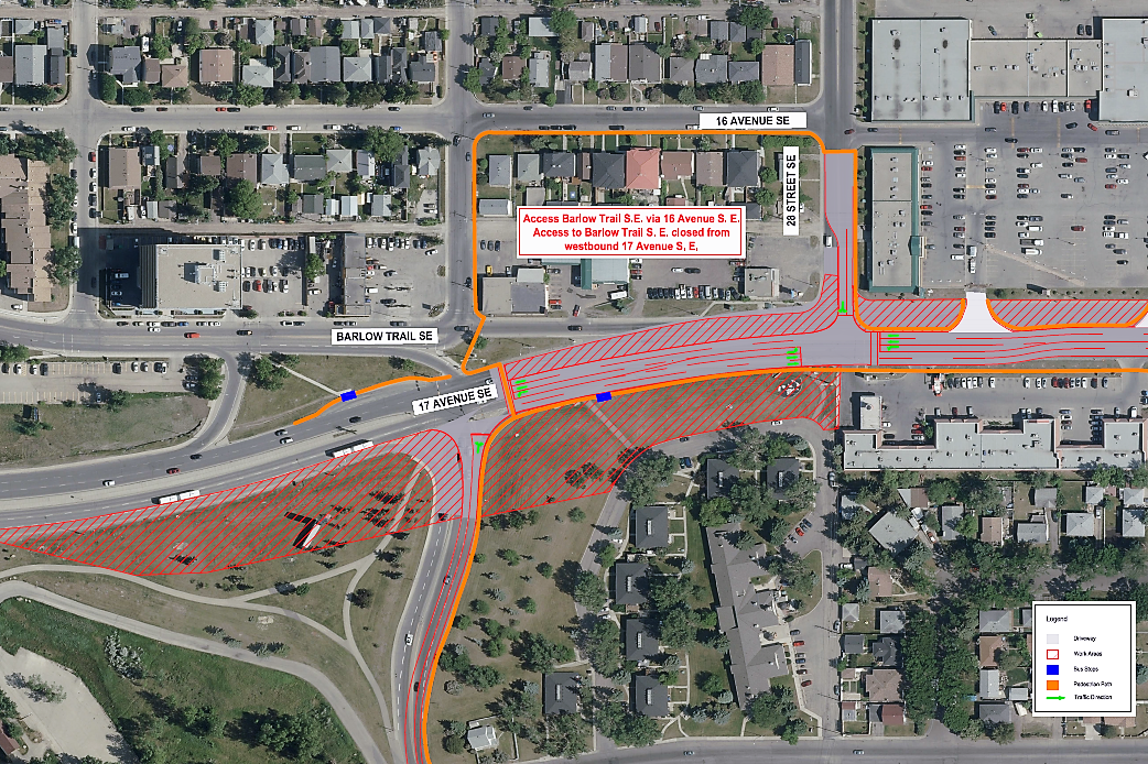 Detour:There will be no access from westbound 17 Avenue S.E. to Barlow Trail S.E.. (Photo Source: City of Calgary)
