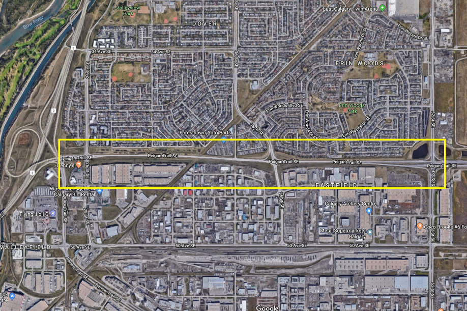 The Peigan Trail S.E. Expansion is listed as a high priority item in The City's                                                                2015-2024 Transportation Infrastructure Investment Plan (TIIP) . (Photo source: Google Maps)
