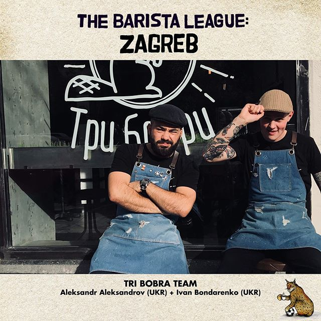 And now to introduce the LAST three teams competing in The Barista League: Zagreb…. Tri Bobra TEAM! Aleksandr Aleksandrov and Ivan Bondarenko are coming to The Barista League from Dnipro, Ukraine!Aleksandr was the 2018 Lviv Barista Champion and was in the top 10 at Ukraine Barista Championships in 2017 & 2018! 🎉 And up next… TEAM De(s)presso! Domagoj Spaic and Sara Cehman are from right here in Zagreb! Hooray! We can't wait to explore their city! These two work together at the esteemed @cogitocoffeeroasters and both have really cute dogs! 🎉 And last but not least... TEAM Homesick Dave! Hans Kristian Andersen and David Kim! Hans beat David in a latte art throw down last December and now they're working together! David got 3rd place in the 2019 Australian Brewers Cup and love drinkin' natural wine. (Hey! Me too!) Hans is the owner of Anderson and Maillard Coffee and is a  tulip stackin' pro! 🎉🎉🎉