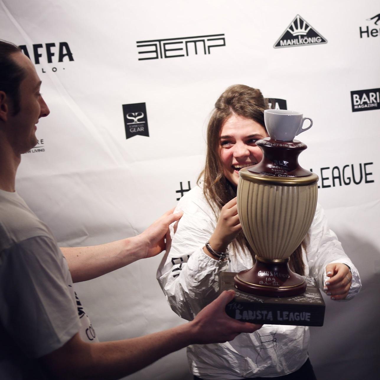Irina Sharipova accepting her trophy at The Barista League: Copenhagen, 2017.