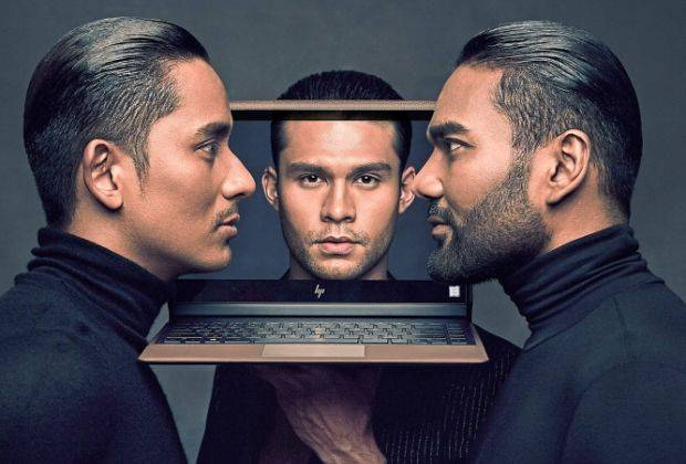 HP collaborates with Rizman (right) and Ruzaini (left) as the Official Notebook Partner for KLFW to introduce the HP Spectre Folio.