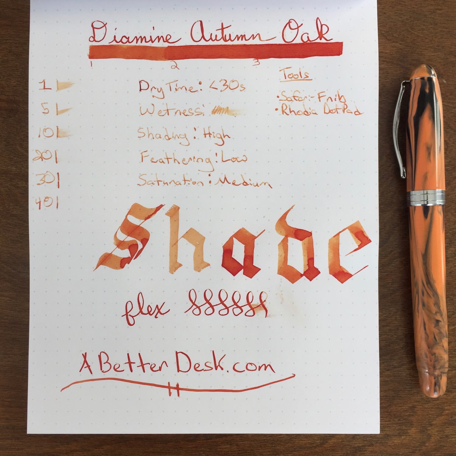 Here's the standard ink review, in case you want to compare with other ink reviews on the site.