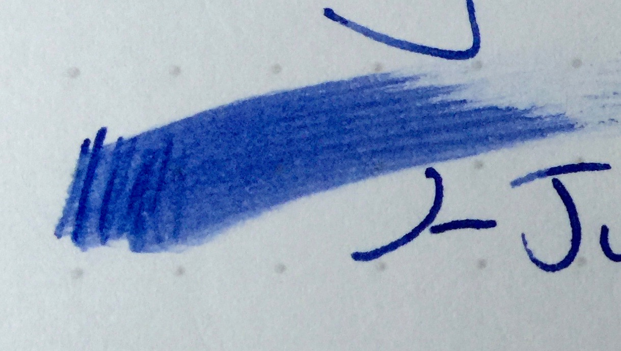Notice the difference between the Lamy Safari (Top) and Lamy 2000 (Bottom)? Both are using the same Aurora Blue ink, but the Lamy 2000 leaves a much juicier more vivid line.