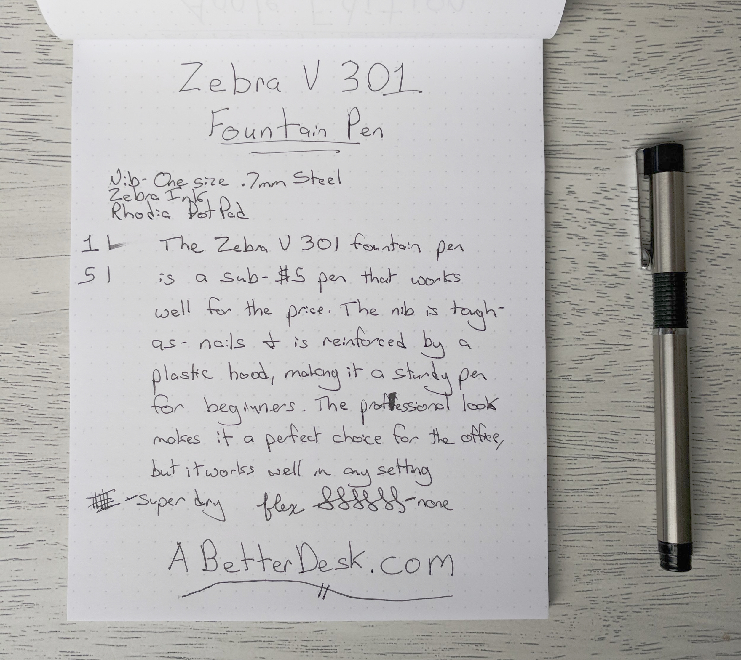 Zebra V 301 Fountain Pen Review Written Review.jpg