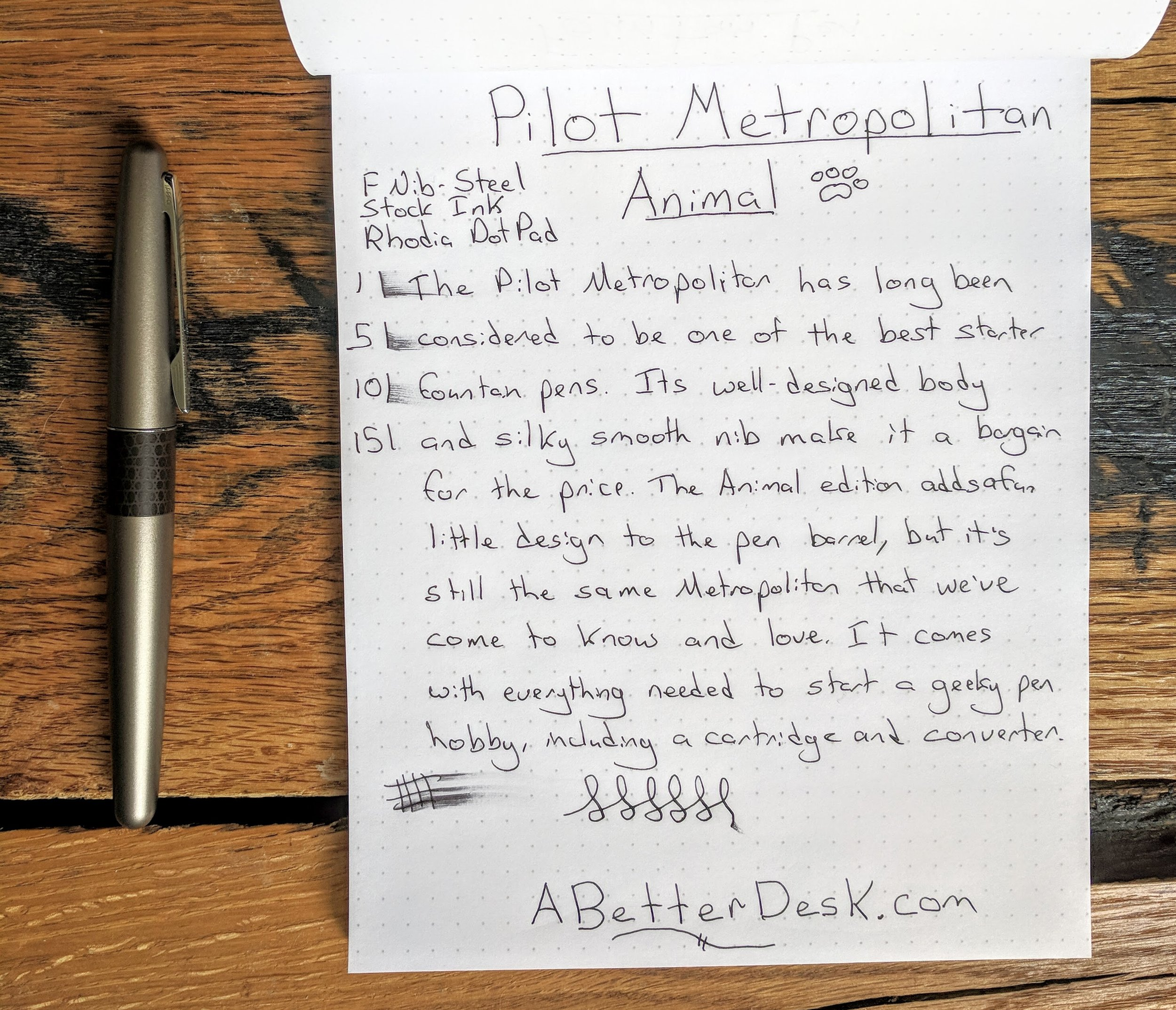 Pilot Metropolitan Animal Fountain Pen Review Handwritten.jpg