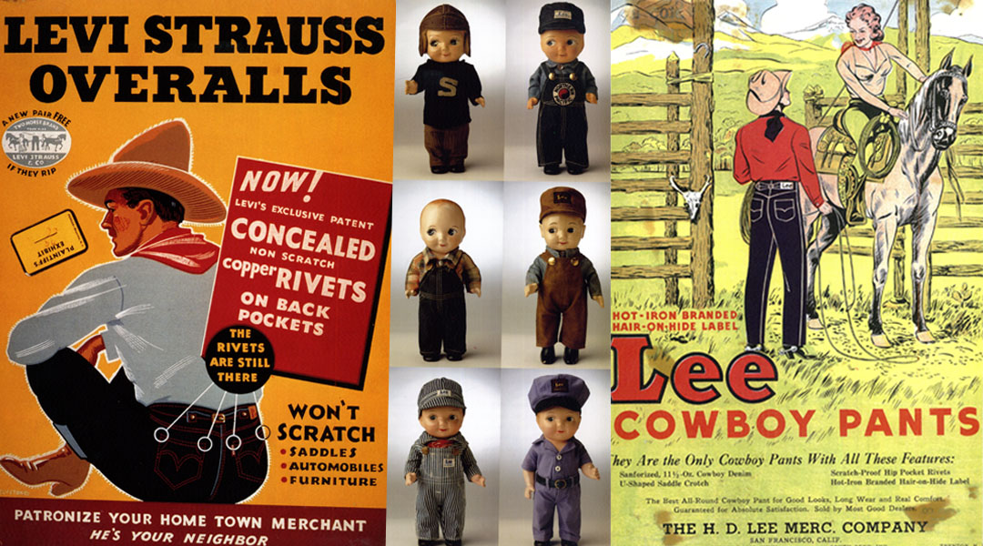 Vintage Levi and Lee advertising, ©Denim from cowboys to catwalks, a visual history of the world's most legendary fabric (2002)