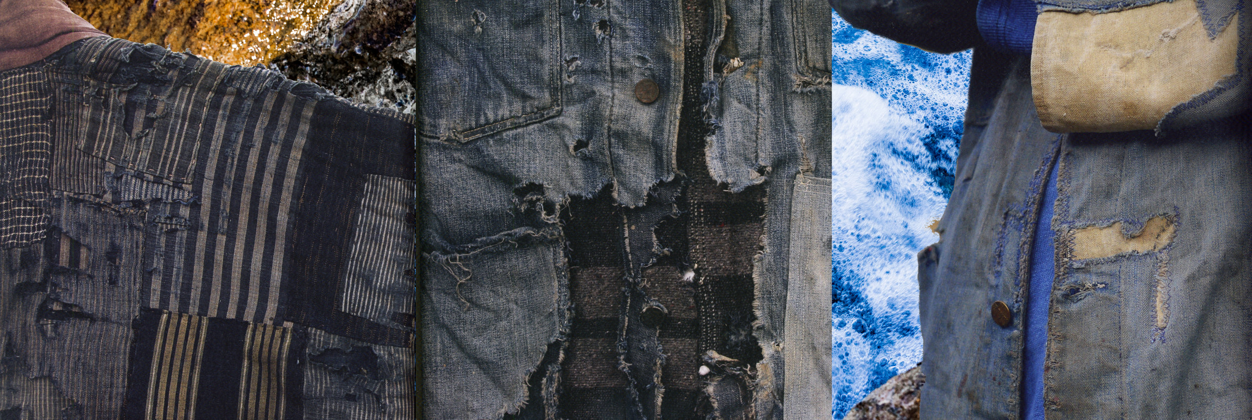 "Background image by Ela Stipicic | Images from left to right: Japanese Farmer Kimono (1980), depression era damage and right image from the book ""Worn (2015)"" by Lockett and Gunn"