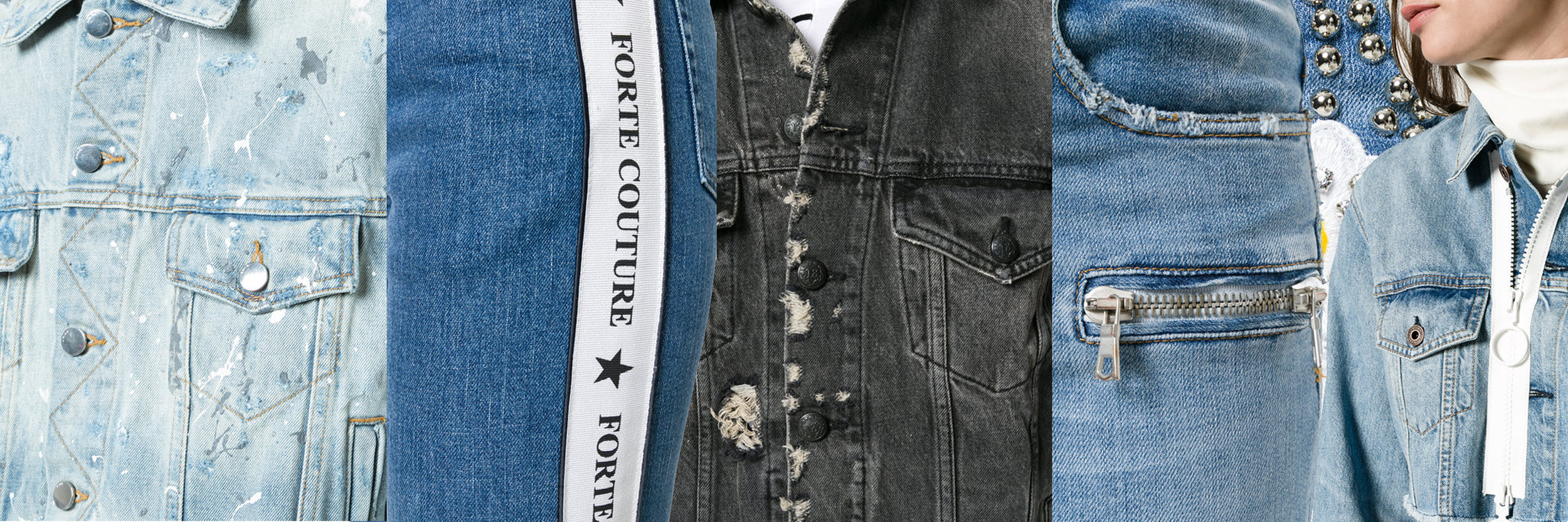Images from left to right: AMIRI Splattered paint denim jacket   FORTE COUTURE logo banded skinny jeans  r13 distressed denim jacket  UNRAVEL PROJECT lace up front skinny jeans   Background image:PHILIPP PLEIN Light Melissa Boyfriend jeans  OFF WHITE cropped zip denim jacket