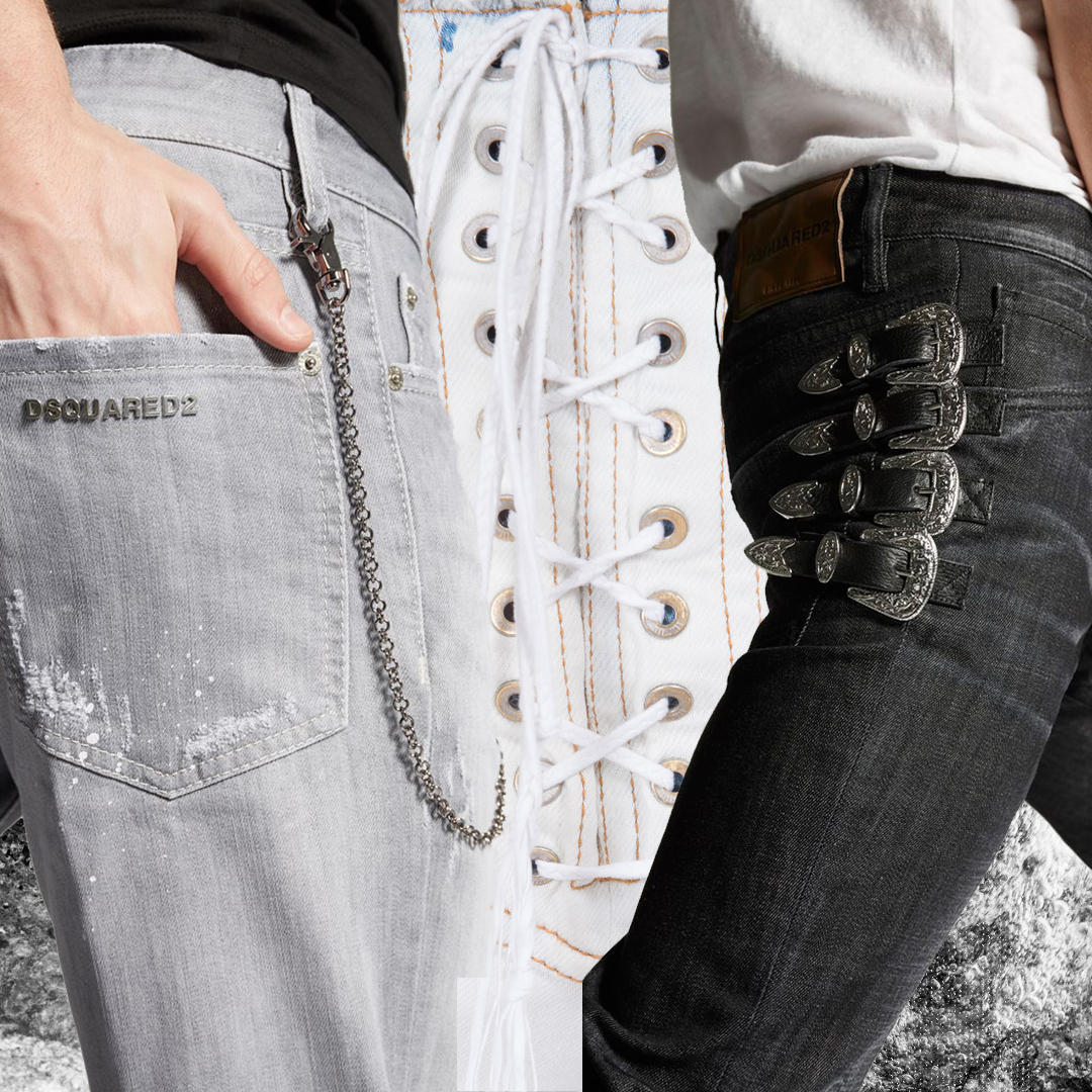 Background image by Ela Stipicic | Left and right denim by DSQUARED2 | Centre image:UNRAVEL PROJECT nature lace up skinny jeans from stefaniamode