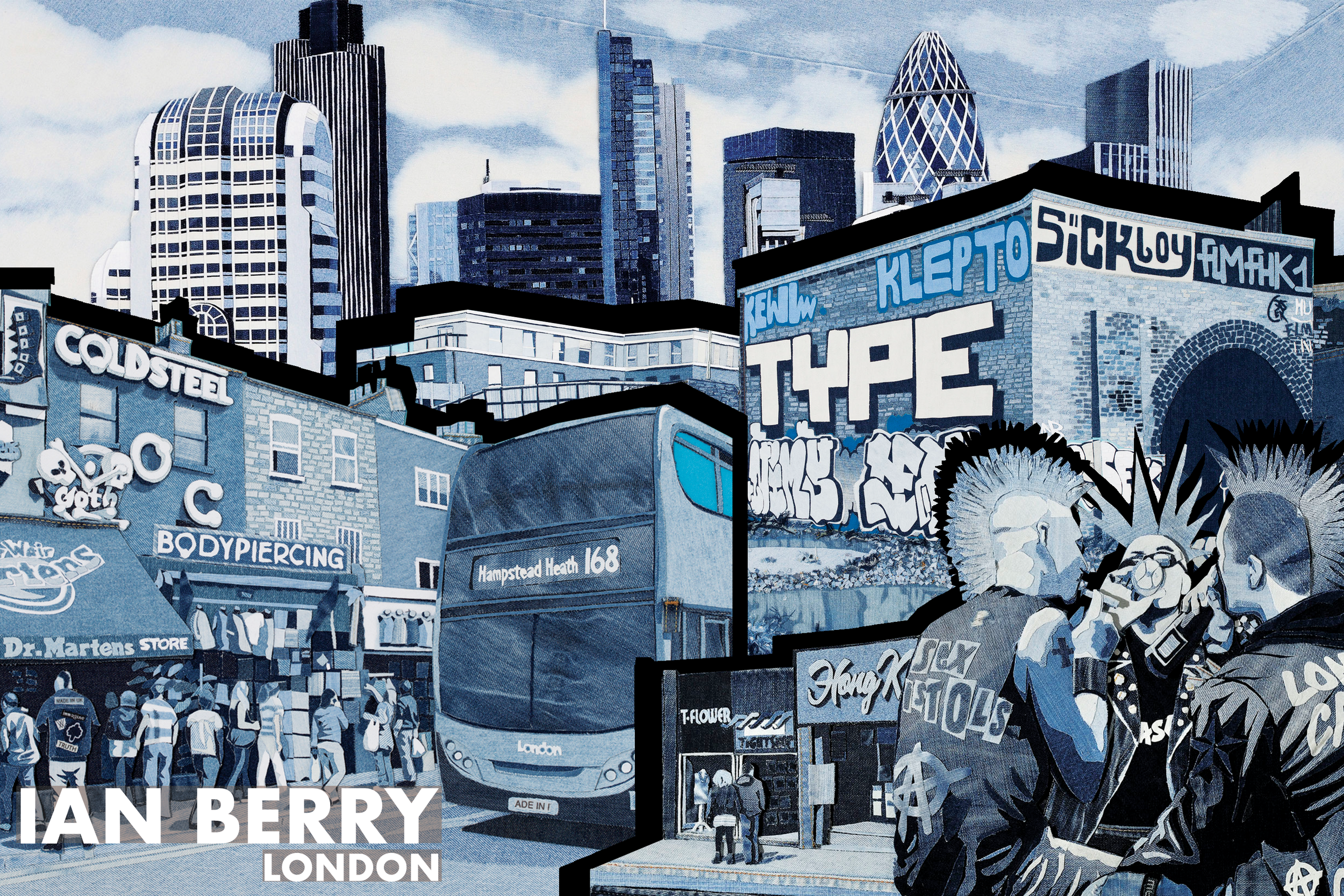 Collage of various images from Ian Berry's Denim London series - http://www.ianberry.org/london/
