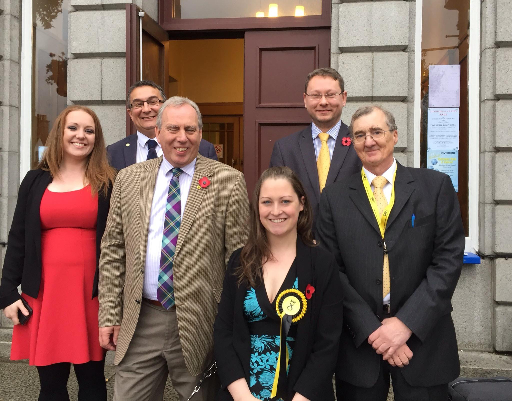Gwyneth Petrie celebrates with local SNP members outside the election count at Inverurie Town Hall today.