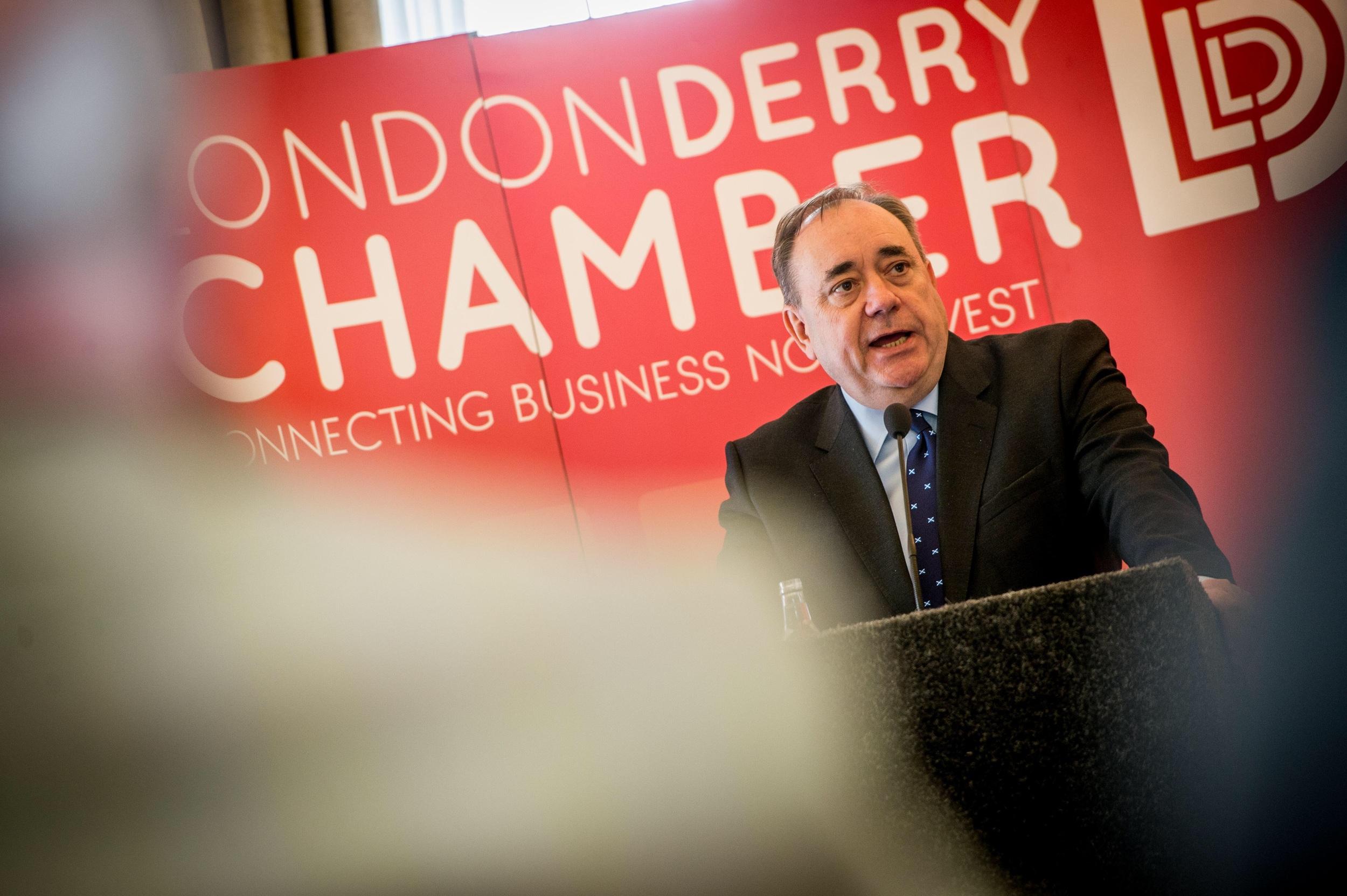 Alex Salmond speaking at the Bishop's Gate Hotel, Derry, Northern Ireland.