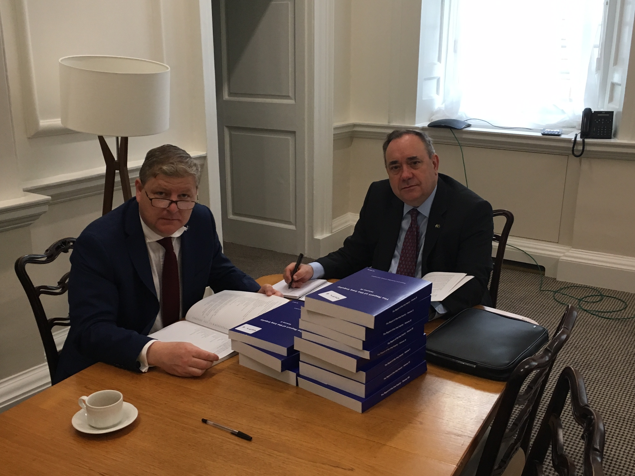 SNP Westminster Leader Angus Robertson MP and SNP Foreign Affairs spokesperson Alex Salmond MP viewing the Chilcot Report this morning.