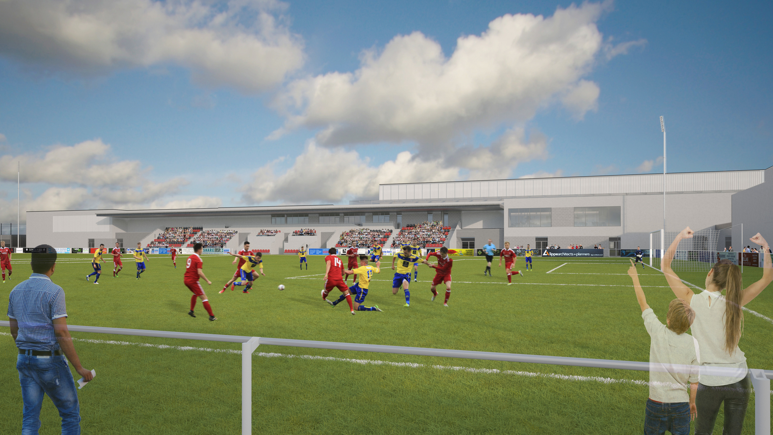 View across Stadium Pitch.  Photo: Lippe Architects + Planners Ltd