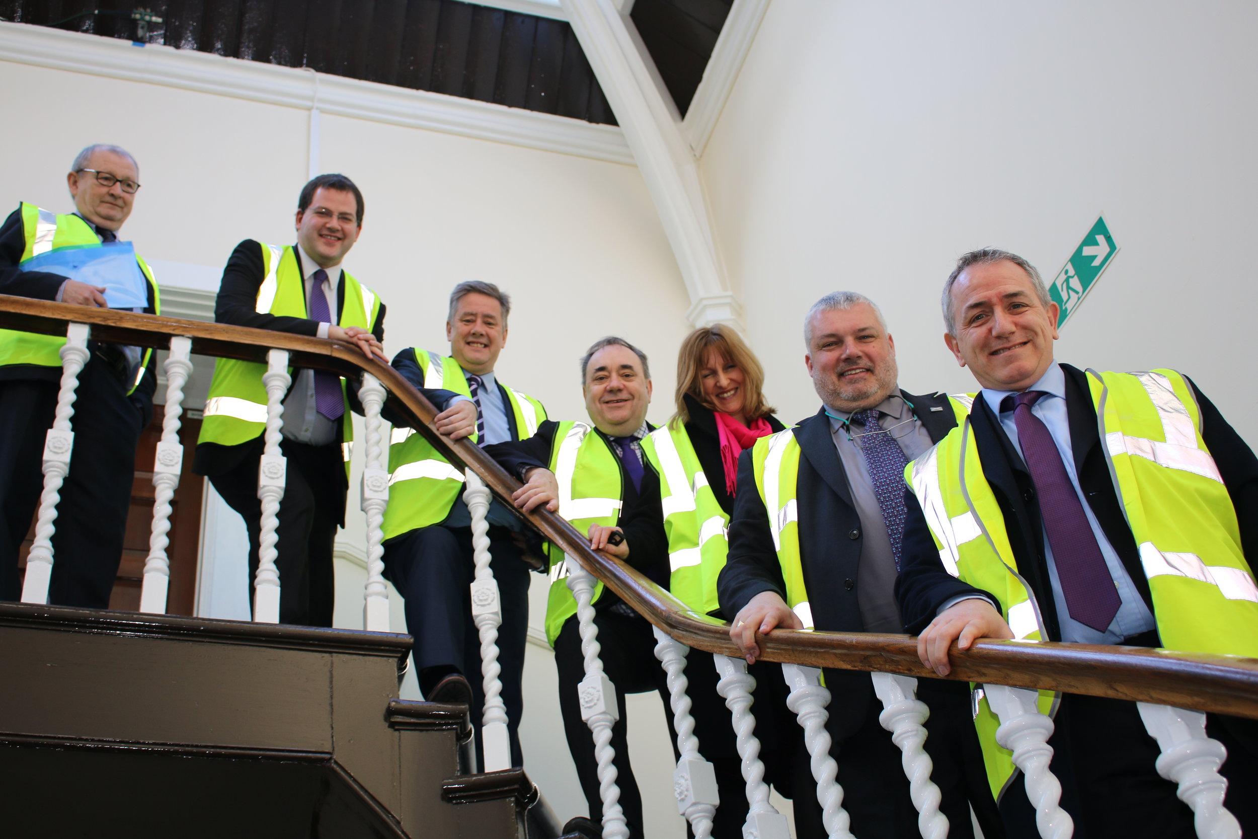 Meeting at Stoneywood Mill. From left: Mark McDonald MSP, Keith Brown MSP, Alex Salmond MP, Anke Heggie, Angus MacSween, Jonathan Mitchell