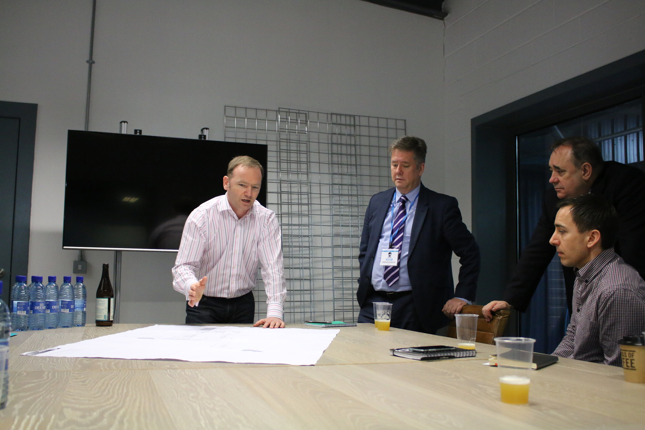 Meeting at BrewDog HQ. From left: Neil Simpson (Finance Director, BrewDog), Keith Brown MSP, Alex Salmond MP, Richard Street (Property and Legal Projects, BrewDog)