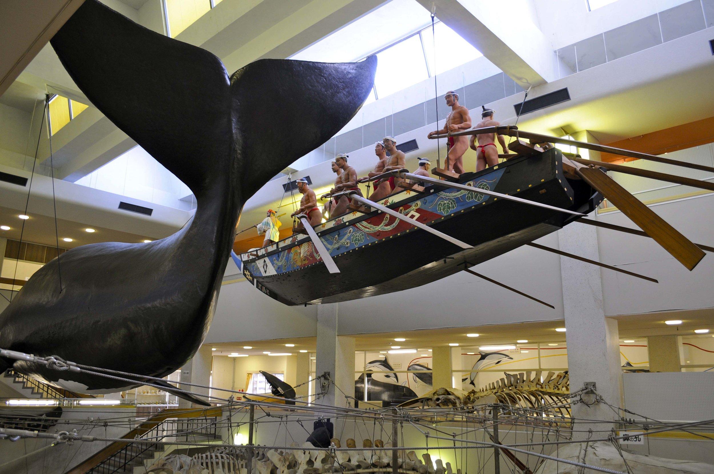 Traditional samurai whaling display - Taiji Whale Museum