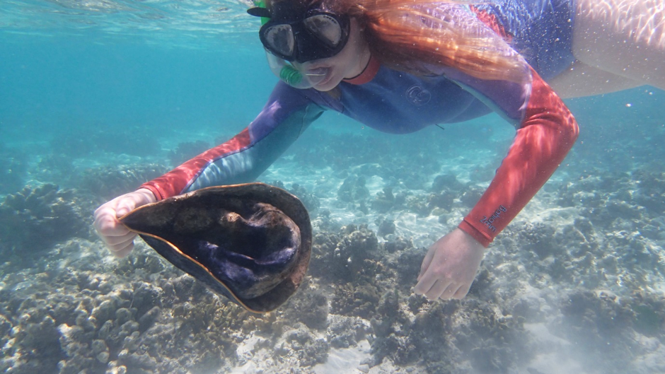 Picking up a dirty old hat from the Great Barrier Reef. Human Impacts are everywhere.