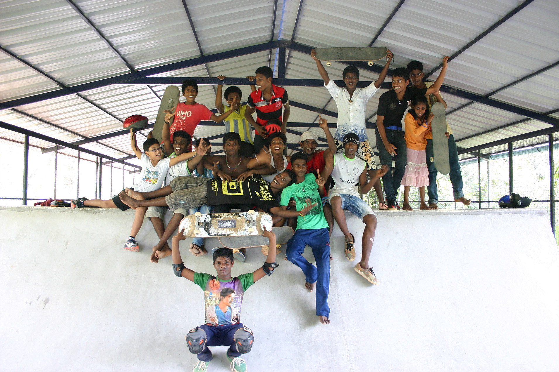 The SISP kids at the rooftop skate club - 'No School, No Skate!' has increased attendance rates dramatically.