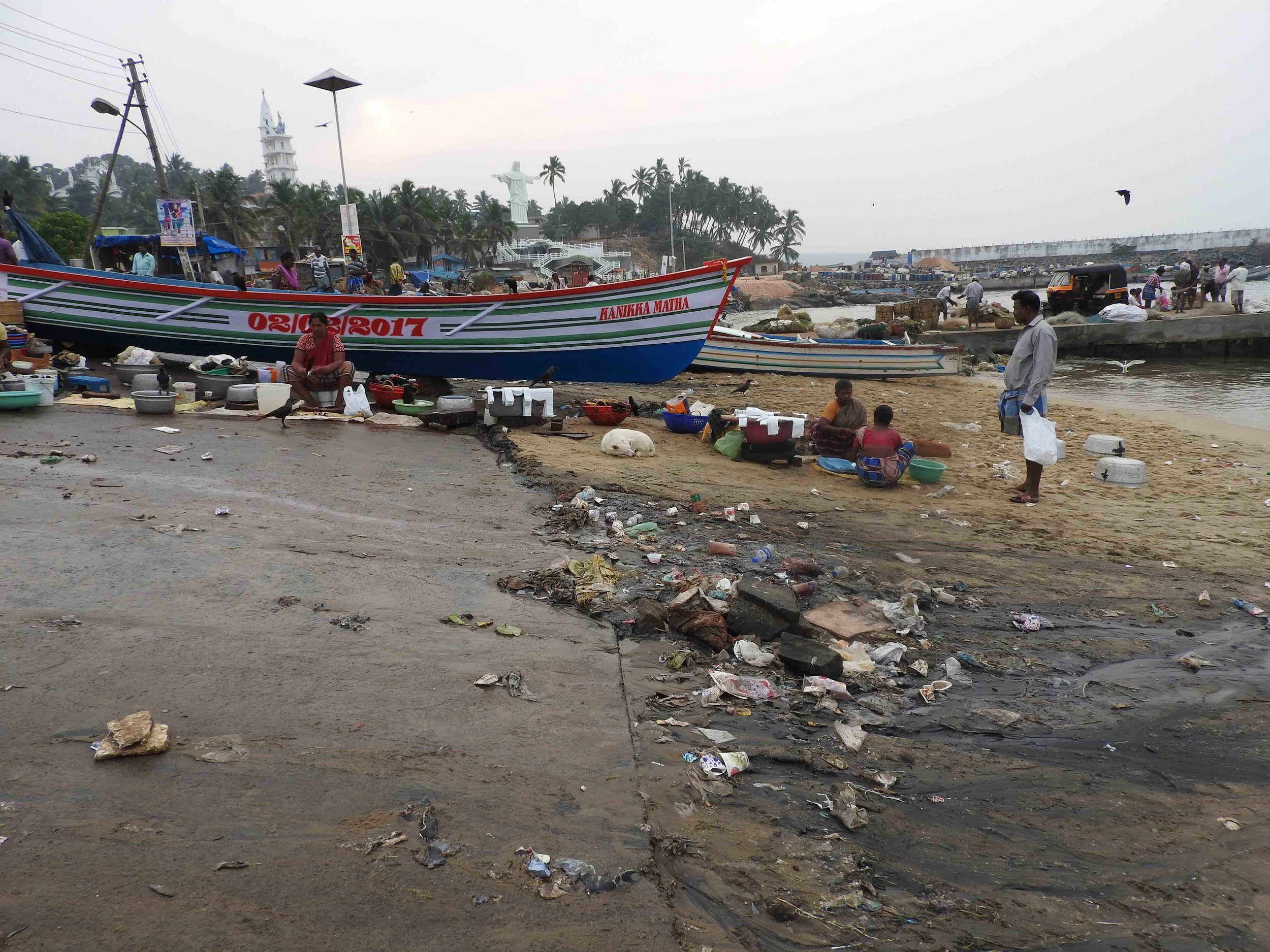 Pressures of overfishing, increasing industrialisation and rampant marine pollution, as seen above, compound the problems facing marine ecosystems in Vizhinjam and surrounds and the local community who rely on them for survival.