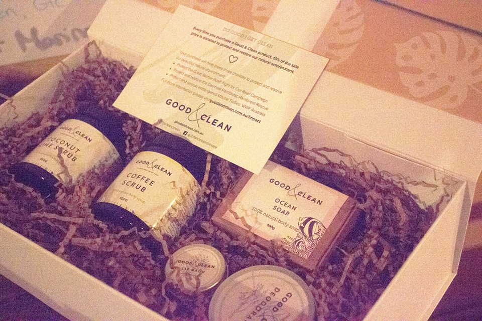 An organic and plastic free pamper pack donated by Good & Clean.