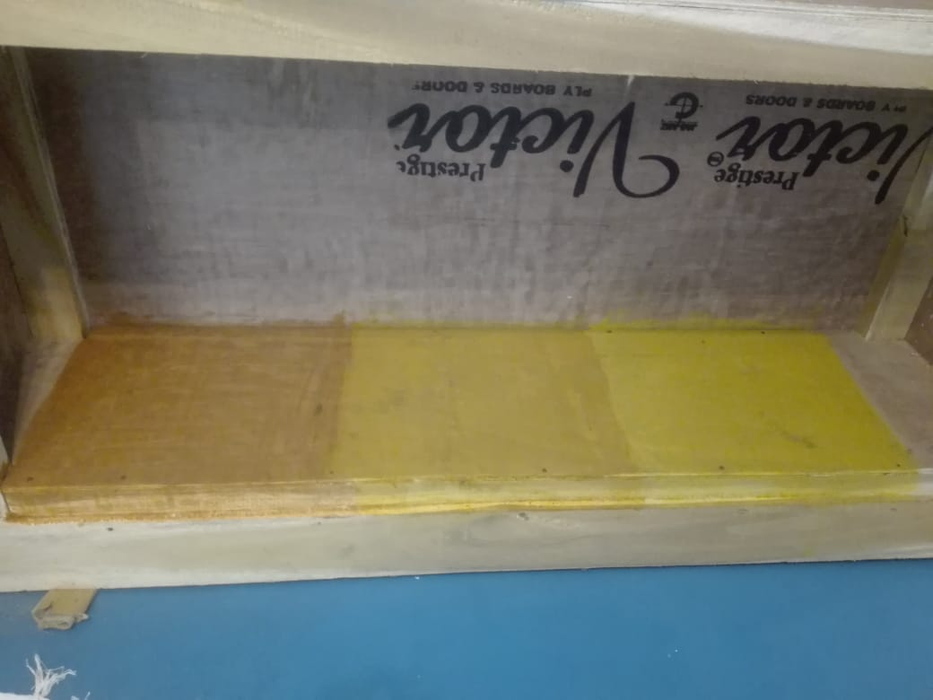 Turmeric stain to round out our multi-coloured and diverse office space in India.