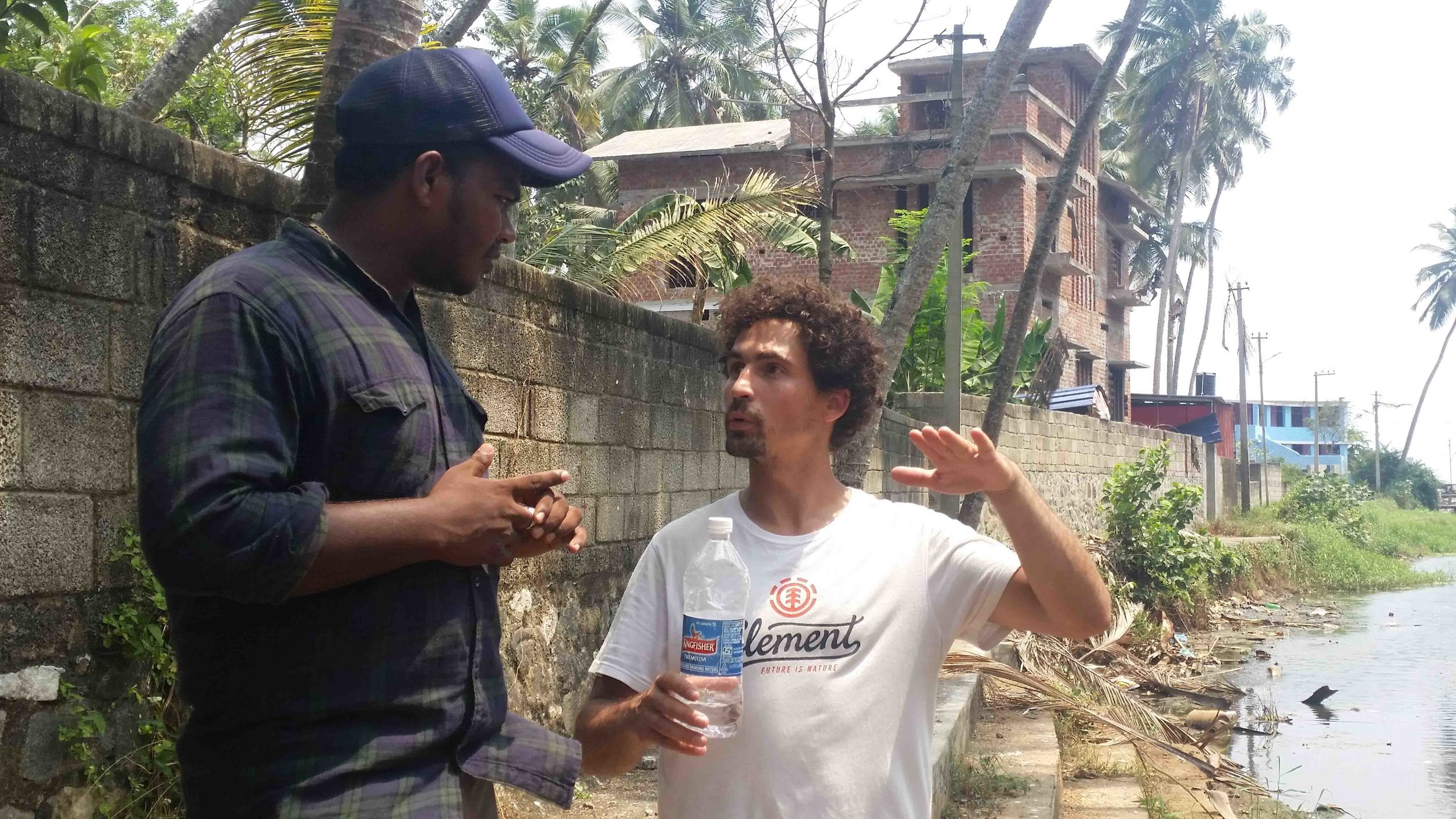 Discussing the situation with our local friend from Vizhinjam, James.