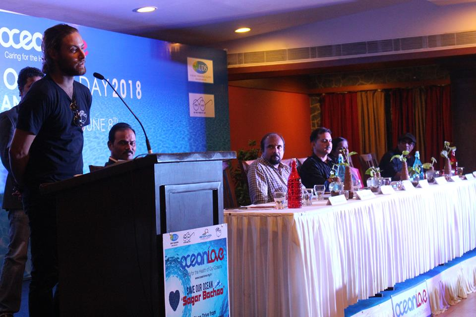 One of our Global Program Coordinators, Daniel, speaking at World Ocean's Day in India.
