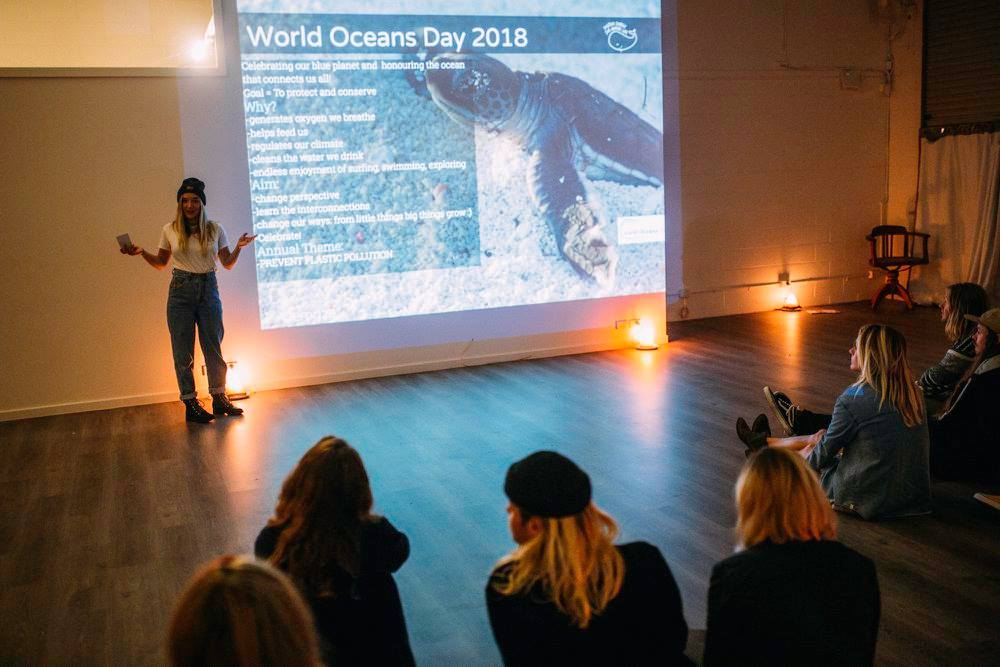 Our Byron Bay Coordinator, Zoe White, presenting on our work for World Ocean's Day.