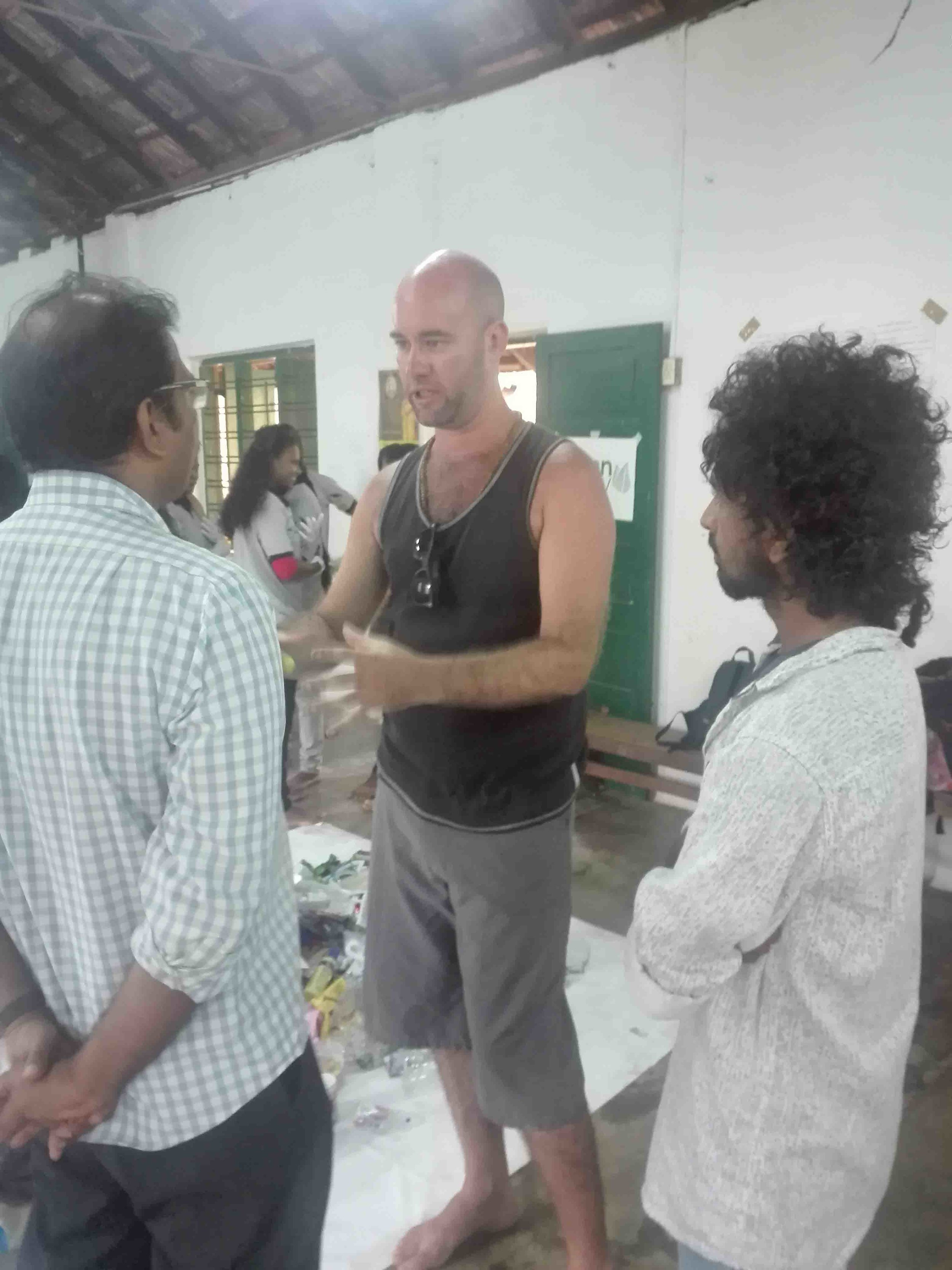 Blake and Krishna (our Global Program Coordinators) meeting with representatives from the Green Army.
