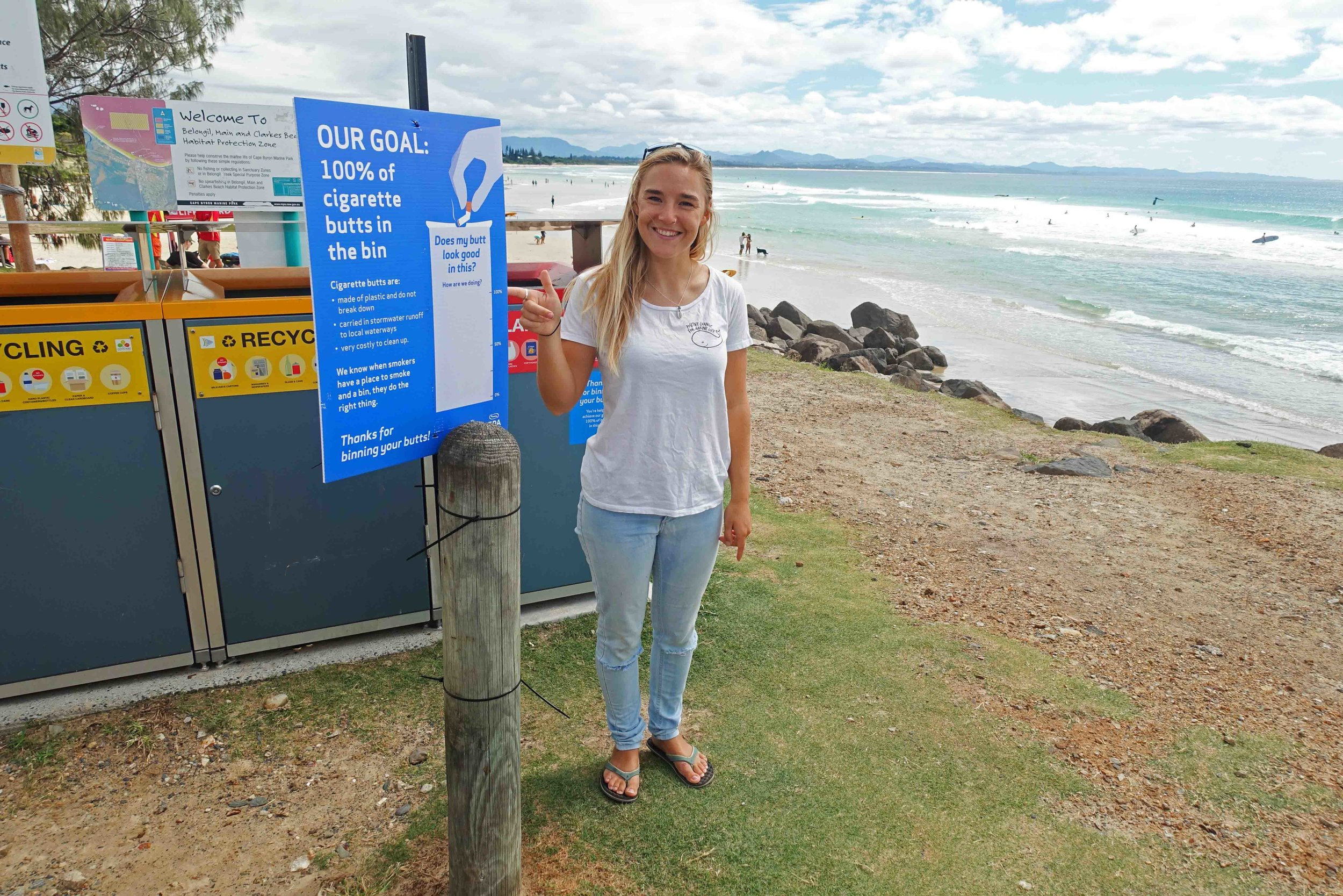 Our Byron Bay Coordinator Zoe White, unveiling our joint initiative with Byron Shire Council.