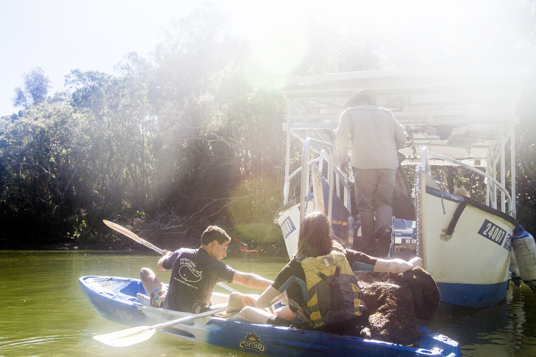 Our River Warriors on the Brunswick River collecting kayak and boat-loads of debris, alongside our local partners Go Sea Kayaks, Byron Bay Eco Kayaks and Cruises, The Byron Bay Cookie Shack and Mullum Cares.