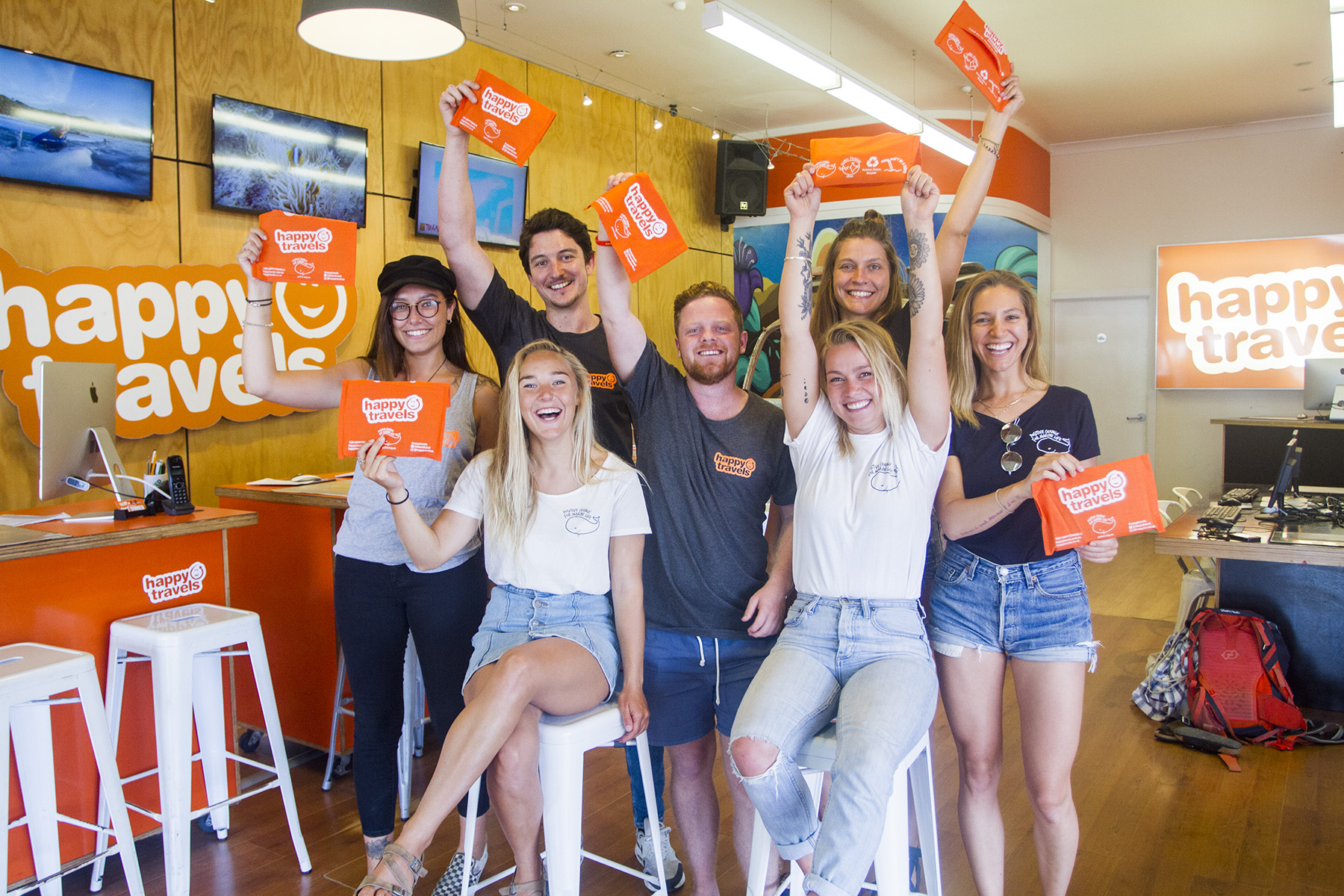 The Happy Travels team and our local PCFML team celebrate the arrival of the first new Happy Planet travel wallets in the Byron Bay store!