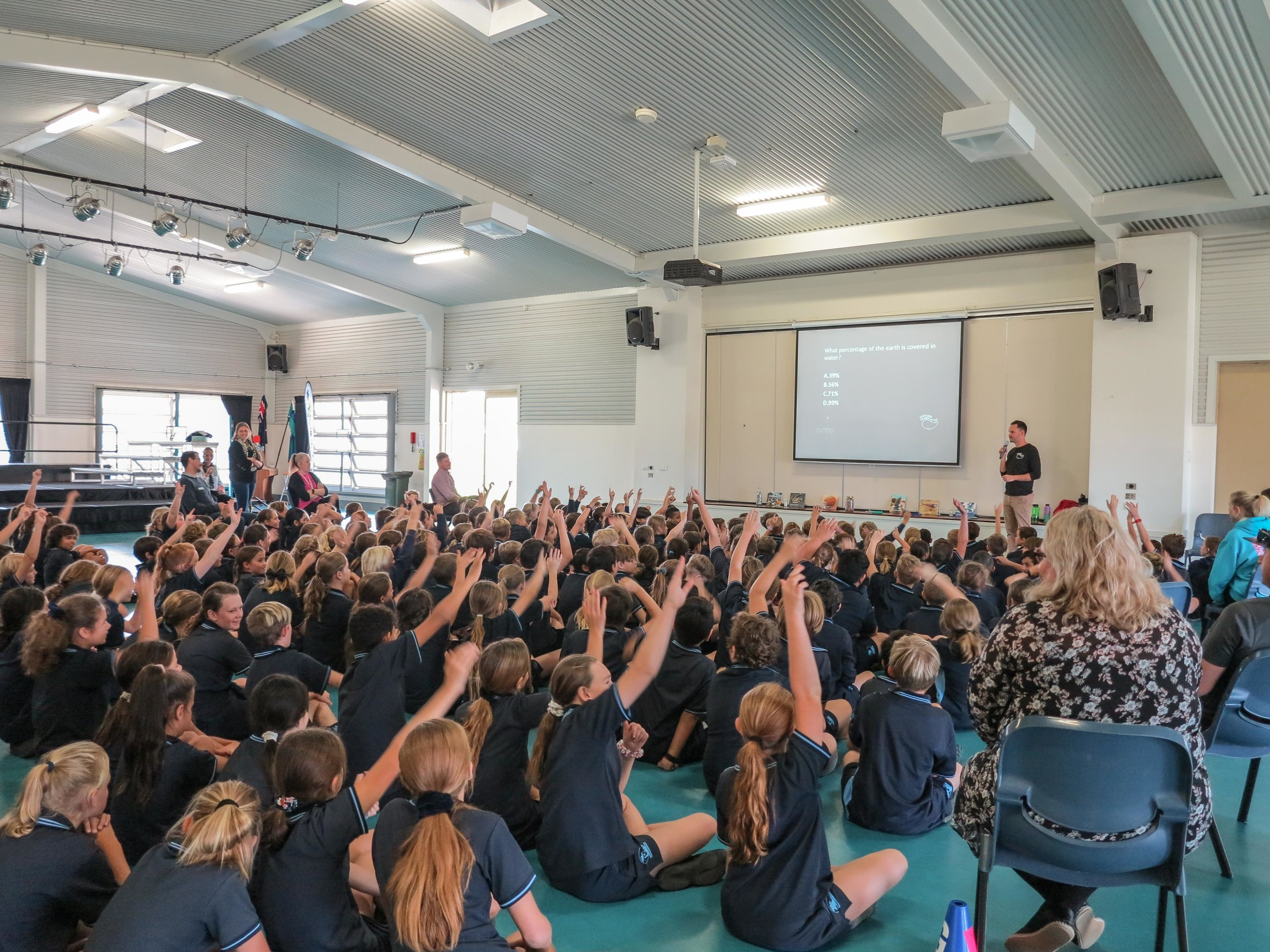 Our CEO presenting to over 200 students at Tallebudgera State School on the Gold Coast.